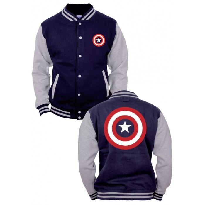 Captain America Baseball Varsity Jacket Shield Logo Codi Product