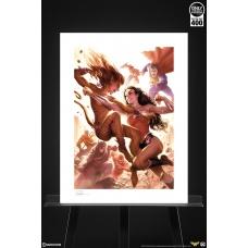DC Comics: Justice League - Wonder Woman vs Cheetah Unframed Art Print - Sideshow Collectibles (EU)